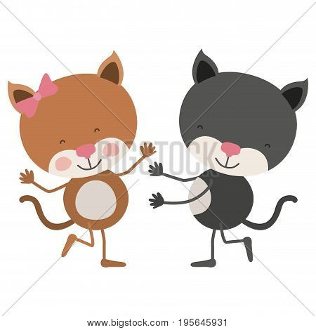 colorful caricature with couple of cats dancing vector illustration