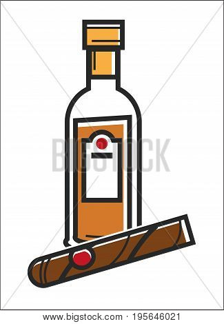 Rum and cigar symbol for Cuba travel destination and famous culture landmark or popular national alcohol drink and cigarette. Vector isolated outline icon