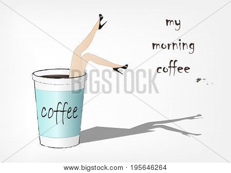 woman fell into the paper cup of coffee, fashion vector illustration, horizontal
