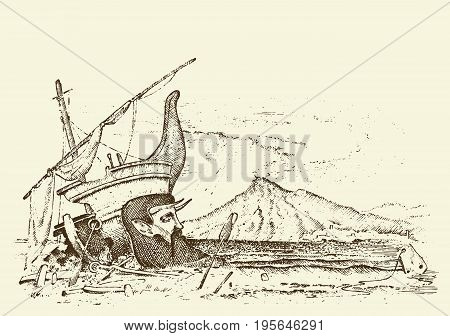 prehistoric seascape or ship, archeology or paleontology. engraved hand drawn in old sketch and vintage transport style