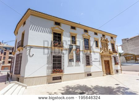 Lorca Spain - May 29 2017: Archeological museum in the old town of Lorca. Province of Murcia Spain
