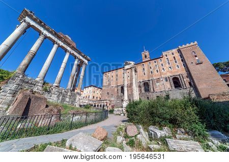 Columns from Antoninus and Faustina Temple located in Roman Forum. Rome Italy.