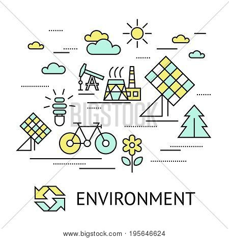 Digital vector yellow green ecology environment icons with drawn simple line art info graphic, presentation with recycle, production and alternative energy circuit elements around promo template, flat