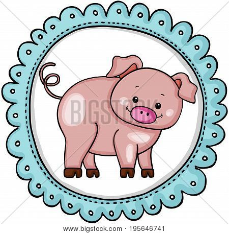 Scalable vectorial image representing a cute pig label round sticker, isolated on white.