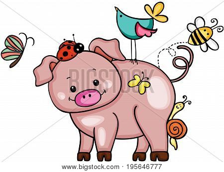 Scalable vectorial image representing a cute pig with animal friends, isolated on white.