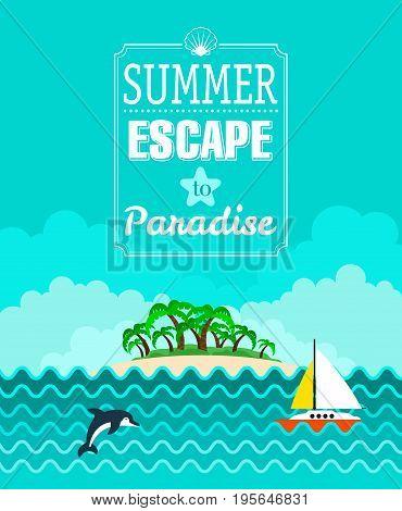 Tropical beach poster Summer Escape. Vector illustration