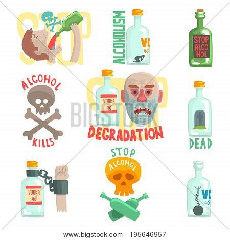 Dangers and risk from alcohol set, alcoholism vector Illustrations isolated on white background