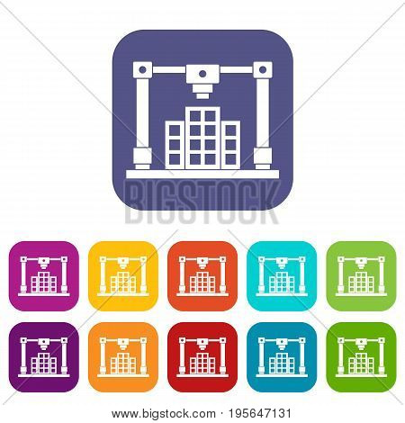 3d printer printing layout of building icons set vector illustration in flat style In colors red, blue, green and other