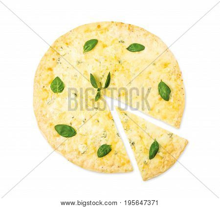 Delicious Quaddro formaggi, four cheese pizza top view isolated on white background, with parmesan, cheddar, mozzarella and blue cheese decorated with basil leaves