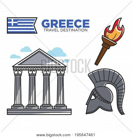 Greece travel landmark and tourist attraction symbols or national culture famous sightseeing icons. Vector set of Greek flag, Athens Pantheon acropolis, Spartan helmet and fire torch