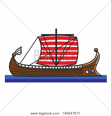 Greek boat or Argonauts mythology ship symbol of Greece travel destination landmark and tourist attraction. Vector national culture famous sightseeing flat icon