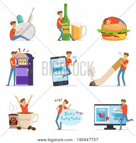 Bad habits set, alcoholism, drug addiction, smoking, gambling addiction, smartphone, shopping, coffeemania, gluttony with obesity vector Illustrations isolated on white background