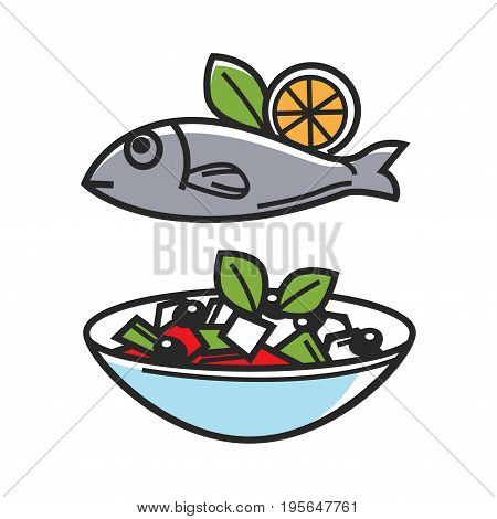 Greek traditional food dishes of fish, vegetable or feta cheese salad. Greece cuisine symbol for travel destination landmark and tourist attraction. Vector national culture famous sightseeing flat icon