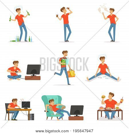 Bad habits set, alcoholism, drug addiction, smoking, dependence of computer and video games, shopping, gluttony with obesity vector Illustrations isolated on white background
