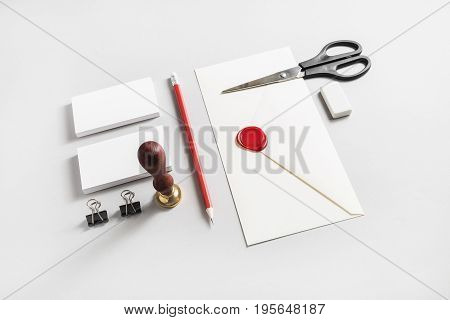 Blank stationery set on paper background. Responsive design mockup for placing your design. ID template. Top view.