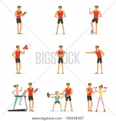Personal gym coach trainer or instructor set of vector Illustrations isolated on white background