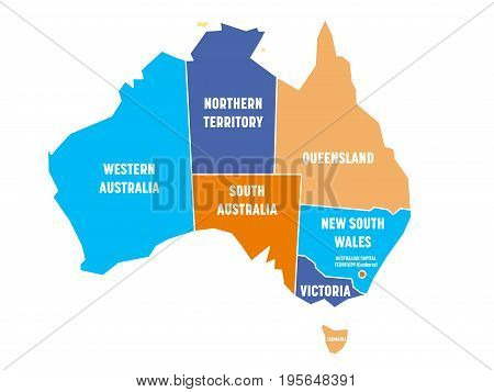 Simplified map of Australia divided into states and territories. Four colors map with white borders and labels. Vector illustration.
