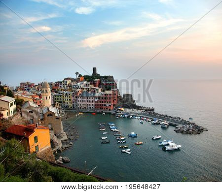 Aerial view of Vernazza in the Cinque Terre at sunset