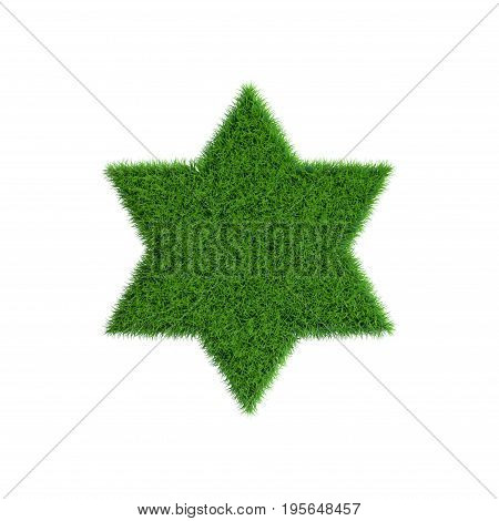 Patch of grass in form of six-pointed star. Isolated on white background.3D rendering illustration.