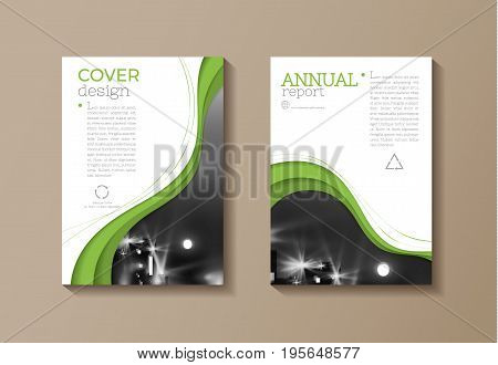 green eco cover modern template design annual report magazine and flyer layout Vector a4