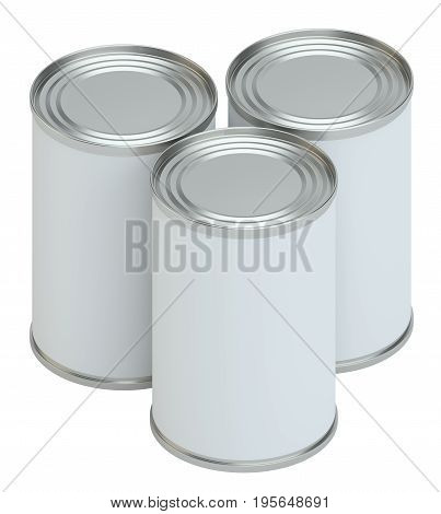 Metal tin can, canned food. Product packing. 3D Illustration