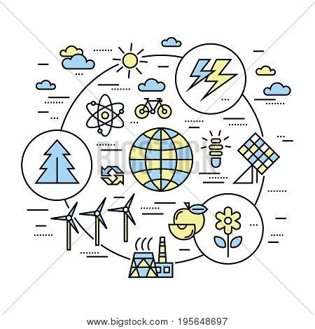 Digital vector yellow blue ecology environment icons with drawn simple line art info graphic, presentation with recycle, production and alternative energy circuit elements around promo template, flat