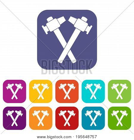 Crossed blacksmith hammer icons set vector illustration in flat style In colors red, blue, green and other
