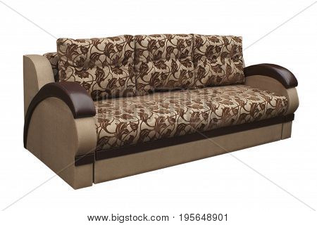 Brown sofa isolated on a white background. Brown sofa isolated on white include clipping path.