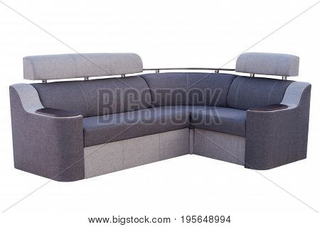 Grey sofa isolated on a white background. Grey sofa isolated on white include clipping path.