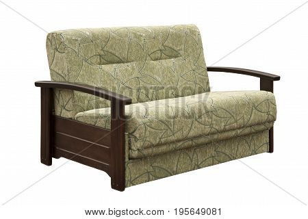 Green sofa isolated on a white background. Green sofa isolated on white include clipping path.