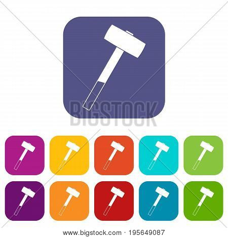 Sledgehammer icons set vector illustration in flat style In colors red, blue, green and other