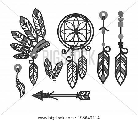 Native American Indians traditional culture symbols and life household items. Tribal weather head wear, dream catcher decoration, arrow or tomahawk weapon work tool and jewelry. Vector icons set