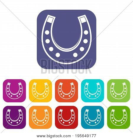 Horseshoe icons set vector illustration in flat style In colors red, blue, green and other