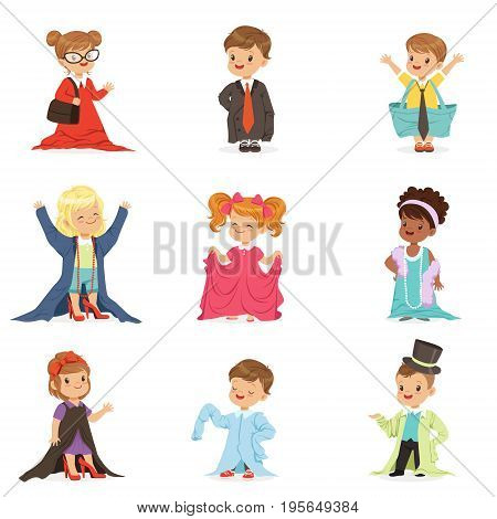 Cute little kids wearing adult oversized clothes set, children pretending to be adults vector Illustrations isolated on white background