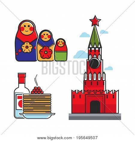 Russia or Soviet Union symbols of travel or tourist attraction. Vector icons of Russian traditional vodka and pancake food, Kremlin USSR architecture and Matryoshka doll