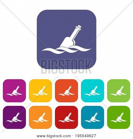 Glass icons set vector illustration in flat style In colors red, blue, green and other