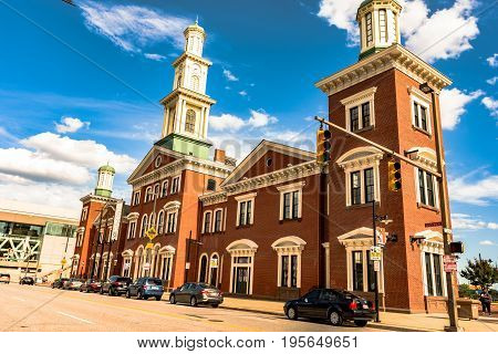 Baltimore Maryland USA - July 8 2017: The restored Camden Station originally built in 1856 is one of the longest continuously-operated train terminals in the United States. It now houses the Sports Legends Museum.