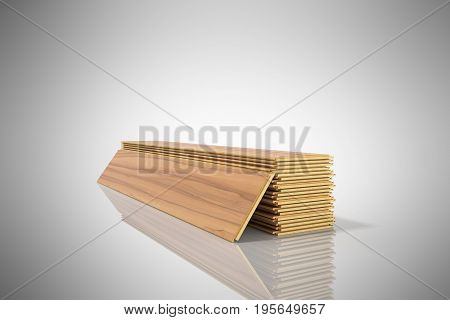Set Of Wooden Laminated Construction Planks Isolated On Grey Background