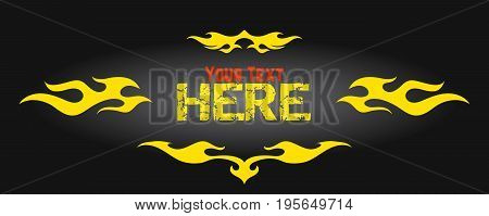 Yellow frame from flame elements old school flame logo isolated vector illustration