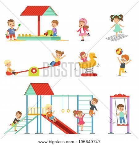 Cute cartoon little kids playing and having fun at the playground set, children playing outdoors vector Illustrations isolated on white background