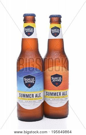 IRVINE CA - JULY 16 2017: Samuel Adams Summer Ale two bottles. From the Boston Beer Company. Based on sales in 2016 it is the second largest craft brewery in the U.S.