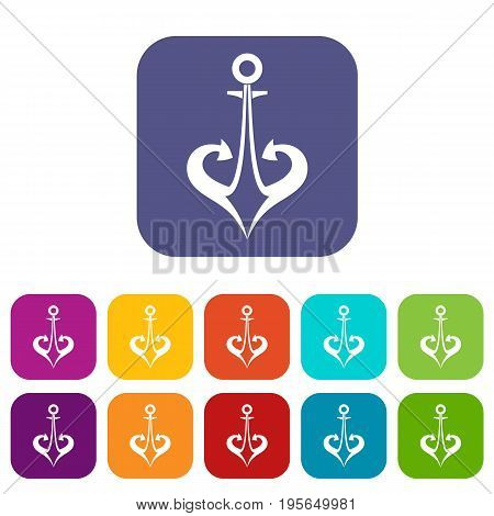 Anchor icons set vector illustration in flat style In colors red, blue, green and other