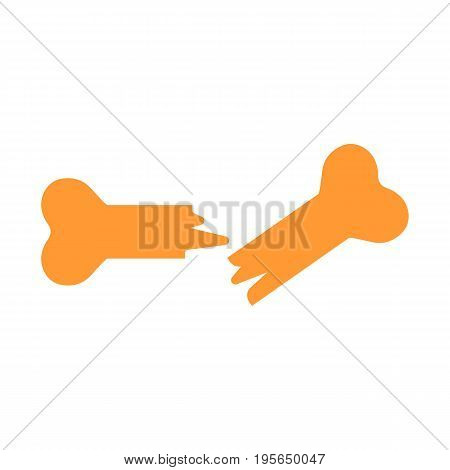Bone fracture Icon on white background. Solid flat bone icon. Broken bone symbol. Eps 10
