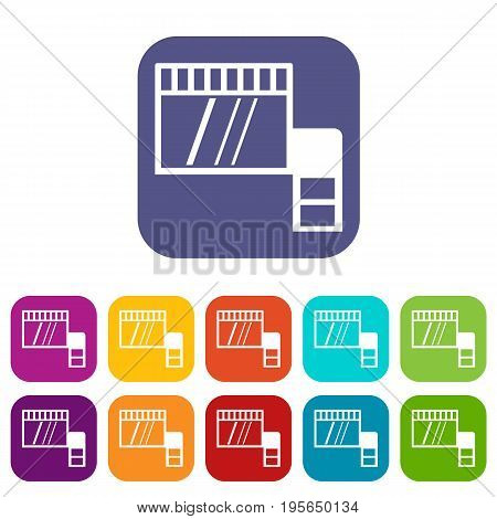 Memory card icons set vector illustration in flat style In colors red, blue, green and other