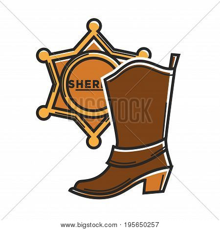 Cowboy boot and sheriff star badge symbols for USA travel landmarks or America famous tourist attraction. Texas policeman or Arizona man traditional footwear vector flat outline icons