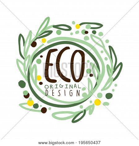 Eco label original design, logo graphic template hand drawn vector Illustration in green colors