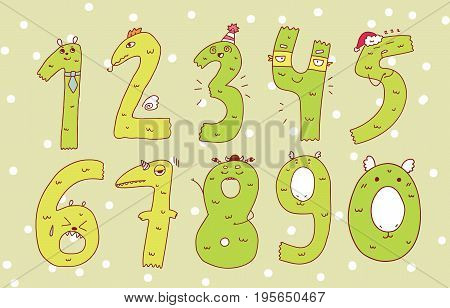Colorful set of hand drawn numbers isolated on background numbers for your designs