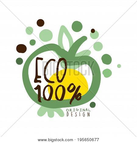One hundred percent eco label, original design, logo graphic template hand drawn vector Illustration in green colors