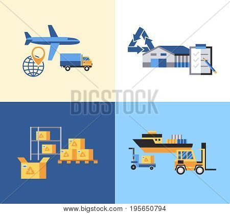 Digital vector yellow blue warehouse icons with drawn simple line art info graphic, presentation with transport, globe and storage depositing logistic elements around promo template, flat style