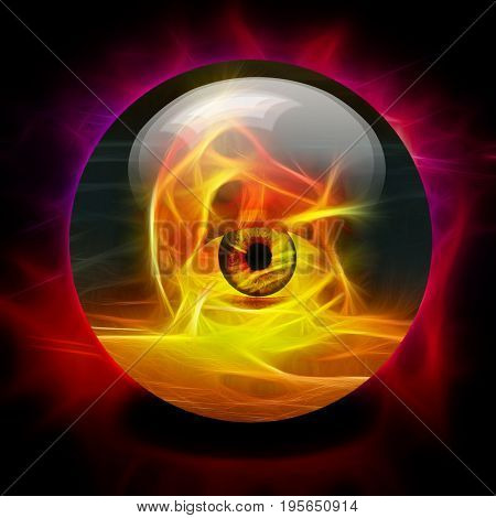 Crystal Ball with eye inside fire